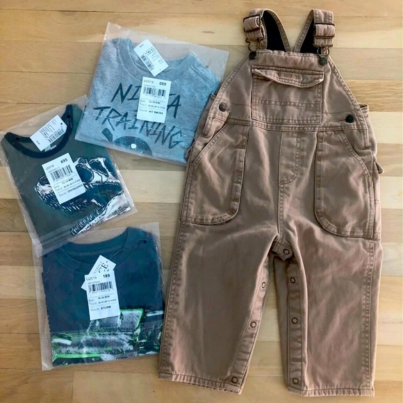 Toddler boy overalls + 3 T-shirts outfit set